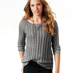 American Eagle Grey Pointelle Cable Knit Sweater S